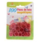 100 Pions de Loto Magnétiques Rouge