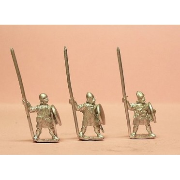 Buy Medium Infantry in assorted helms with Long Spear & Round Shield -  Board Game - Essex