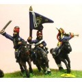 Seven Years War Prussian: Command: Hussar Officer, Standard Bearer & Trumpeter in Mirliton 0