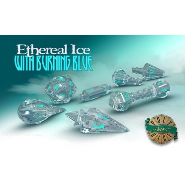 PolyHero Dice Wizard Set - Ethereal Ice with Burning Blue