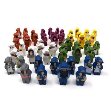 51-Piece Set of Character Meeples for Viticulture and Tuscany