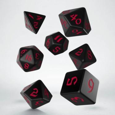 Classic Runic Black & red Dice Set (7)